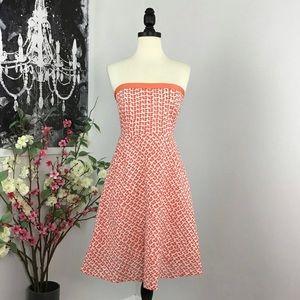 J Crew Mushroom Print Embossed Strapless Dress